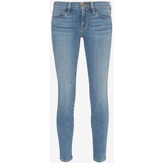 FRAME Le Skinny De Jeanne Crop: Mountain View ($200) ❤ liked on Polyvore featuring jeans, denim, zipper jeans, ankle length jeans, blue jeans, frame denim and ankle length skinny jeans