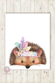 701e0a9aa Boho Tribal Feather Hedgehog Woodland Wall Art Print Nursery Baby Girl  Bohemian Floral Room Printable Decor