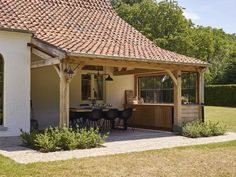 Rustic Outdoor Fireplaces, Sauna House, Barn Renovation, Backyard Patio Designs, Timber House, Marquise, House Extensions, Back Patio, Exterior Design