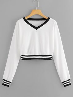 Shop V Neck Striped Sweatshirt online. SHEIN offers V Neck Striped Sweatshirt & more to fit your fashionable needs. Teen Fashion Outfits, Cute Fashion, Outfits For Teens, Girl Outfits, Casual Outfits, Cute Outfits, Cute Sweatshirts, Cool Hoodies, Cute Shirts