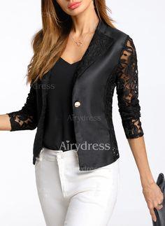 Coats - $9.99 - Polyester Long Sleeve Lapel Jackets (1715238778)