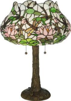 Dragonfly Flower Table Lamp Meyda Tiffany