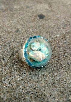 Globe Ring, strand Ring, sneeuw Globe Ring, bewegen sieraden, verklaring Ring…