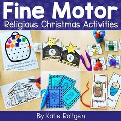 This Religious Christmas Fine Motor Activities set is perfect for PreK, Kindergarten or homeschool students. These are a great resource for Christian classrooms or private school. Preschoolers and Kinders use these during small groups, morning tubs, centers & more. Activities include paper tearing, cutting, lacing, tweezing, bead stringing, letter writing, gluing, clothespin pinning, hole punching & pathways. These are great to use during the holiday celebrations.