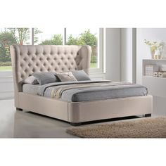 LuXeo Manchester Tufted Wing Palazzo Mist Fabric Upholstered Platform Bed - Overstock™ Shopping - Great Deals on Beds