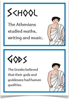 Ancient Greeks Fact Cards - Treetop Displays - Downloadable EYFS, KS1, KS2 classroom display and primary teaching aid resource