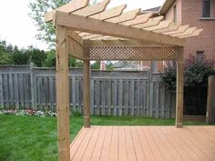 Corner shade arbor deck nice idea. Put a swing on one side and a hammock on the other... What do you think @Connie Hamon Brzowski Patrick?