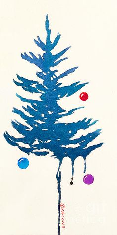 Holiday Fir Tree, watercolor by Teresa Ascone. 100 pins, 12/13/15