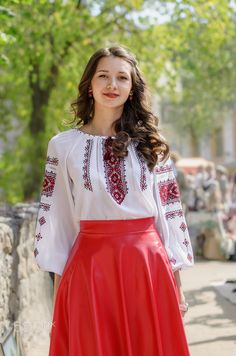 Girl in red - null Waist Skirt, High Waisted Skirt, Bell Sleeves, Bell Sleeve Top, Skirts, People, Red, Tops, Women