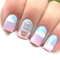 Aerostatic balloons nail art nail inspiration pinterest nail love these nails hot air balloon nails prinsesfo Choice Image