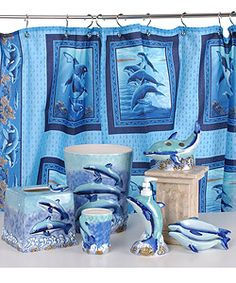 Dolphin Decorating Items   Dolphin Bathroom Accessories Set w/ Shower Curtain   Overstock.com
