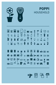 Poppi Pictograms – Household  www.emigre.com #pictograms #icon #graphicdesign #vector #vectorgraphics #illustration #martinfriedl