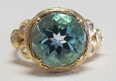 Yellow Gold Blue Topaz & Diamond Ring