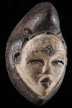 Masque Mukuyi - Punu / Pounou - Gabon - Objet n°3351 - Galerie Bruno Mignot African Masks, African Art, Buddha, Skull, Statue, Venus, Culture, Collection, Sculptures