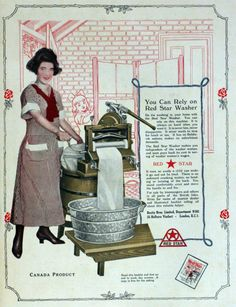 ~ Red Star washer, March 1921 You can rely on this machine. It has no Bolshevik notions, makes no exorbitant demands. Retro Advertising, Advertising Signs, Vintage Advertisements, Vintage Ads, Vintage Images, Vintage Antiques, Vintage Ephemera, Antique Washing Machine, Vintage Laundry