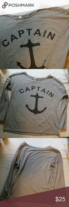 NWOT Captain's Long Sleeve {Brand New, Never Worn} Soft Cotton Gray Crew Neck Long Sleeve Tee New Style Tops Tees - Long Sleeve
