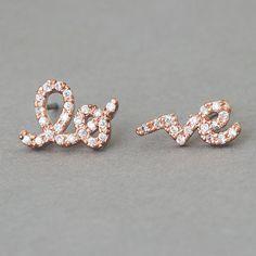 CZ Rose Gold Love Earrings from Kellinsilver.com – Love Word Earrings, Love Stud Earrings