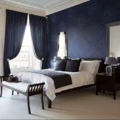 Navy blue master bedroom idea