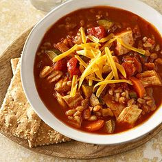 Farro and Vegetable Chicken Chili - Farro is a tasty alternative when pasta and rice become boring standbys. Farro is a grain that is gluten-free and filled with fiber. One serving of this chili will give you 5 grams of fiber and large dose of vitamin A.