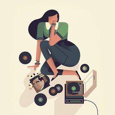 "222 Likes, 5 Comments - Owen Davey (@owendaveydraws) on Instagram: ""Listening to Records #records #lp #vinyl #music"""