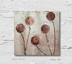 Acrylmalerei - NovemberLaub Acrylbild auf Papier Kugelblumen #117 - ein Designerstück von SoMa-Art bei DaWanda