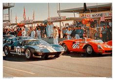 Ford - Ferrari War - Daytona 1965 This is the 1965 Daytona 2000 Km. race and 1965 was right in the middle of what we call The Ford - Ferrari War. On the grid is the Ford of Bob Bondurant and Richie Ginther. Ford Gt40, Ferrari, Sports Car Racing, Sport Cars, Auto Racing, Road Racing, Ford Motor Company, Le Mans, Dream Cars