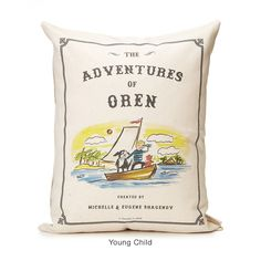 Cast your favorite little person as an adventurous literary figure on this custom-designed pillow! Child's features can be customized and mom and dad's name can be added as the authors!