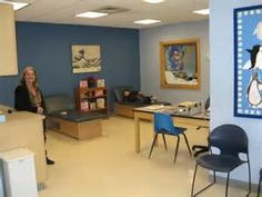 Seeing a color used in an existing space helps to visualize what ours might look like: school office Nurse Office Decor, School Nurse Office, Nurse Decor, Office Set, I School, School Nursing, Office Ideas, School Ideas, Nurse Bulletin Board
