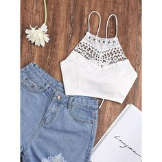 SheIn(sheinside) Lace Up Back Contrast Lace Cami Top ($12) ❤ liked on Polyvore featuring tops, white, lace tank, white cami, stretch lace camisole, white tank and lace up tank