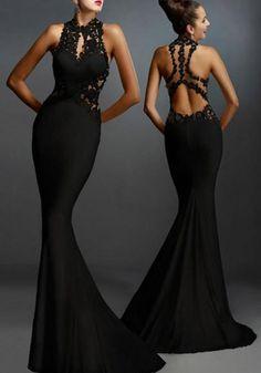 New Women Black Lace Patchwork Elegant Backless Mermaid Evening Party Maxi Dress  Robes Vintage 9f4363c34d45