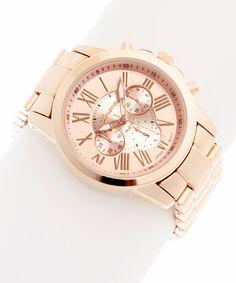 Rose Gold Roman Numeral Chronograph Watch #zulily #zulilyfinds