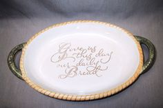"""17.00+free shipping  14"""" platter  Give Us This Day Our Daily Bread Basketweave Pottery Oval Platter w/Handles"""
