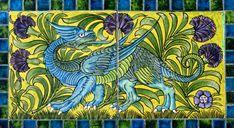 Dragon Tile Panel by William De Morgan,, 1872–1907. Collection: De Morgan Foundation. Part of William and Evelyn De Morgan, an Exhibition at the Watts Gallery, Compton, Surrey