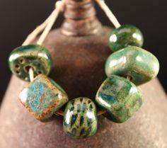 Handmade stoneware ceramic beads Greens 6 by ChelleV2 on Etsy, $15.50   LOVE!