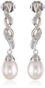 S&G Sterling Silver and 14k Yellow Gold Freshwater Cultured Pearl and Diamond Drop Earrings (9.5-10 mm)