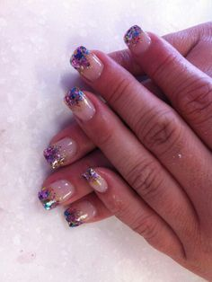 Glitter tips multicolor