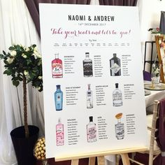 Gin Table Plan - Painted & Designed by Sinead (Owner at Roco & Miley) Reception Seating, Seating Plan Wedding, Wedding Signage, Seating Plans, Wedding Reception, Wedding Bible, Our Wedding, Summer Wedding, Dream Wedding