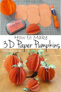 How to make 3D pumpkins out of paper to use as Fall decorations. All you need is scallop circles and glue.