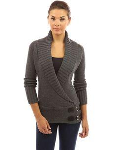 PattyBoutik Women's Collar Wrap Buckle Knit Cardigan