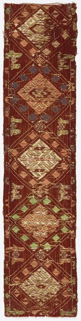 Sash Or Band, possibly 16th century. possibly 16th century. Medium: silk, linen, metallic Technique: brocaded tablet woven (warp twining). Gift of John Pierpont Morgan. 1902-1-243.