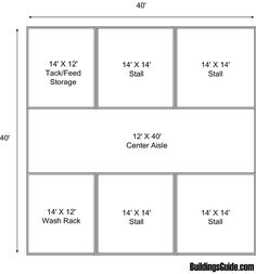 The basic 4 stall barn I'd like.maybe a 6 stall even idk. This stall) is a… Barn Stalls, Horse Stalls, Small Horse Barns, Barn Layout, Horse Barn Designs, Backyard Barn, Horse Barn Plans, Goat Barn, Barndominium Floor Plans