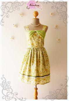 Floral Dress Bridesmaid Dress Party Dress Silk Chiffon Bow Curtain Vintage Style Sweet Green Charming Dream Dress -Size XS,S,M,L,XL,Custom-