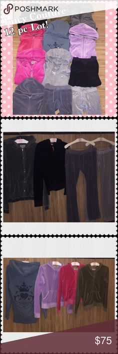JUICY COUTURE Lot Joggers Jackets Sz MEDIUM Reasonable offers are warmly received, however keep in mind that since this is a heavy box, it will need the $20 label, which I'm paying the difference --------------Yes! Price is for ALL! 12 pcs! JUICY COUTURE lot of jackets and bottoms, you will receive what is pictured. They are all size medium. They are used in good to great condition some may have minor flaws, but nothing that would affect its wear. Purchase them for yourself or to resell…