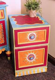 Boho Inspired File Cabinet -- Create the perfect boho office accessory. #boho #decoartprojects #chalkyfinish