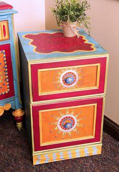 Boho Inspired File Cabinet -- Create the perfect boho office accessory. #boho #decoartprojects #chalkyfinish