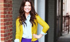 put a cardigan on it... i love the color combo of the yellow, light blue, and purple
