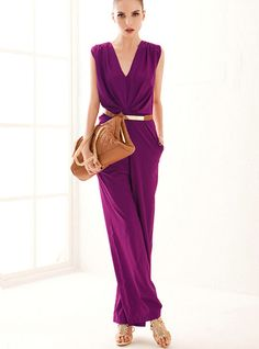 Purple Sleeveless Vneck Belt Jumpsuit