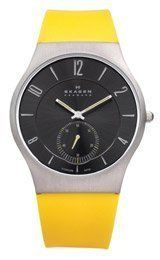 Skagen Yellow Silicone Band Watch Skagen. $65.00. 3 ATM / 30 Meters / 100 Feet Water Resistant
