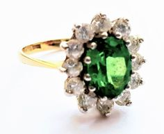 Vintage Edwardian Style Ladies Russian Chrome Diopside and Cubic Zirconia Cluster Engagement Ring in 9 ct Yellow Gold FREE POSTAGE Included by GloryBeVintageWares on Etsy