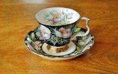 Royal Albert Provincial Flowers Prairie Crocus Footed Tea Cup and Saucer, Collectible English Bone China 1975 Trillium Gainsborough Teacup - SOLD! :)